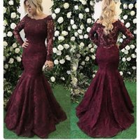 2019 vin élégant dentelle rouge sirène bal de bal robes à manches longues longueur longueur robe de soirée robes de soirée