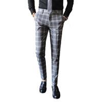 Homens Vestido Terno Calça Casual Business Slim Fit Inglaterra Clássico Terno Calças de Casamento Masculino versão Coreana Xadrez calças casuais