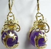 Di moda regalo elegante 12mm púrpura Dragón de jade 18KGP pendientes 5,29