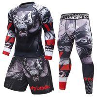 New Men's tracksuit 3D Prints Tight Skin Compression Sport Suit Men MMA Rashguard Body Building Top Fitness Sports Set