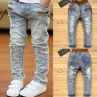 Ienens 5-13y crianças meninos roupas skinny jeans calças clássicas crianças denim vestuário tendência longo fundos menino casual calças