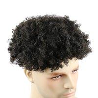 Erkek İnsan Saç Peruk Peruk Tam Cilt 10mm Kinky Kıvırcık Değiştirme Sistemi El Yapımı Hairpieces Hint Remyhair