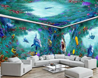 Wholesale Photo Wallpaper Space Underwater World Shark Dolphin Full House Custom Background Wall Painting Wallpaper