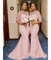 2020 Pembe Mermaid Nedime Elbiseler Uzun 1/2 Kollu Sheer Jewel Boyun Düğün Parti Abiye Sweep Tren Dantel Aplikler Balo Parti Abiye