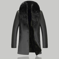 Couro Inverno Casacos Men Pele Casual Collar Coats Motorcycle Faux Leather Jacket Men Thick Long Vestuário Preto