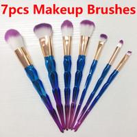 Hot Vente 7pcs Pinceaux Unicorn diamant maquillage coloré pinceau bleu et violet dégradé de couleur Pinceaux Outils de maquillage beauté shippin gratuit