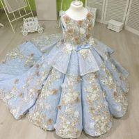 السماء الزرقاء الزهور اليدوية بنات فساتين مهرجان الرباط الكشكشة المتدرج التنانير الاطفال الأميرة الكرة ثوب أول شركة فساتين quinceanera