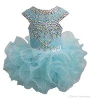 Luxueuse fille Pageant Robes Petites filles Glitz Perlé Cupcake Flower Girl Robes Robes Enfant Mini Jupes courtes En Toddler Robes de fête d'anniversaire en bas âge