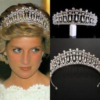 Vintage Silver Queen Princess Diana Corona Crystal Pearl Diadem Accessori per capelli da sposa Sposa Tiara Fasce Tiara De Noiva