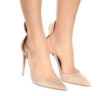 Beige Faux Suede Stiletto Heels Mujeres Bombea dedo del pie puntiagudo Correa del tobillo Zapatos de mujer Sexy tacones altos Zapatos de novia de boda