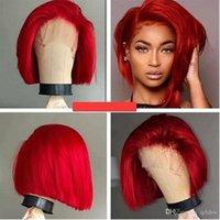İnsan Saç Dantel Açık Peruk Renkli Kırmızı Bob Virgin Brezilyalı Tutkalsız Öncesi Mızraplı Kırmızı Tam Dantel İnsan Saç Peruk Kısa İçin Siyah Kadınlar