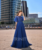 Charming Royal Blue Tulle Scoop Beads Evening Dresses Specia...
