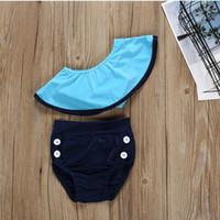 فتاة الأطفال قبالة الكتف ملابس السباحة قطعتين ثوب السباحة الطفل الكشكشة المائل الكتف ملابس السباحة طفل بيكيني LJJP33