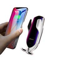 R1 voiture chargeur sans fil Smart Automatic pour IPhone X Clamping XR XS 8 Plus Galaxy S10 S9 capteur Support voiture Téléphone sans fil Chargeur Porte-rack