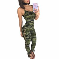 Straps Camouflage Print Side Lace UP Skinny Jumpsuits Overal...