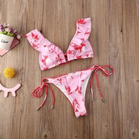 Hirigin Sexy Flower Bikini Set Women Swimming Suit Ruffles Pink Swimwear 2020 New Push Up Padded Swimsuit Bathing Suit Summer