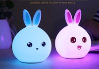 Silicone Touch Sensor LED Night Light RGB Cute Rabbit Patern...