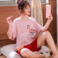 Printed T- shirt trousers suit pajamas pink stitching cartoon...