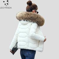 따뜻한 모피 칼라 두꺼운 두꺼운 짧은 여성 패딩 재킷 슬림 패션 숙녀 파카 겨울 캐주얼 플러스 크기 여성 Wadded 코트