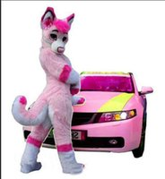 2019 Vendita diretta in fabbrica Sexy costume da mascotte di cane volpe rosa Husky Adatto a pelliccia lunga Abito operato per adulti