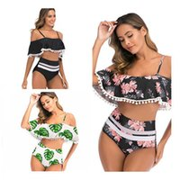 2020 New Sexy Floral Swimsuit Women Off Shoulder Beachwear F...