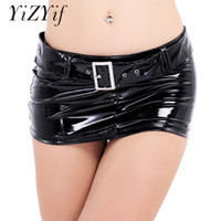 Sexy Mini Skirt Women Wetlook Patent Leather Short Mini Skir...