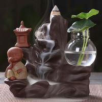 Rückstau Räuchergefäss Halter Keramik Kleiner Mönch Kleiner Buddha Wasserfall Sandelholz Censer Creatives Dekor mit 10 Kegel