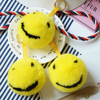 Genuine Rex rabbit Fur Keychain fashion Fur Smiling face Key...