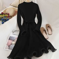 Elegant Party Dress Women Flare Sleeve O Neck Knitted Bodyco...