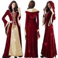 Tema Traje Vestido Medieval Robe Mulheres Renaissance Princesa Rainha Veludo Tribunal Maid Halloween Vintage Capuz Vestido