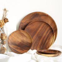 플레이트 나무 원형 과일 접시 페인트 건조 과일 케이크 스낵 플레이트 홈 레스토랑 작은 접시 EEA493