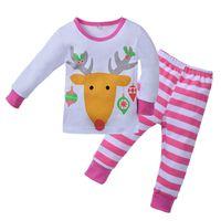 Детский рождественский пижамный комплект Маленькие девочки с мультяшным оленем Пижамные костюмы Baby Girl Full Sleepwear детская пижамная пижама Fille