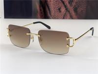 Occhiali da sole vintage Men Design Framless Forma quadrata Eyewear UV400 Gold Light Lens Lente di colore 0104 con custodia