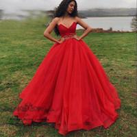 Princesa Puffy rojo noche Vestido de fiesta Vestidos de quinceañera Vestidos de baile 2019 Vestidos 15 anos piso longitud dulce 16 Vestido de fiesta