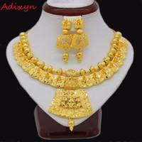 Adixyn 45 см / 18 дюймов ожерелье серьги комплект ювелирных изделий для женщин девушки золотой цвет романтический арабский / эфиопский / Африканский свадебные аксессуары C18122701
