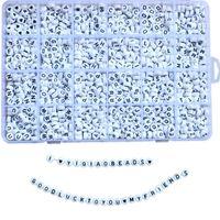 Новая мода Mix 26 шт. Русские буквы Акриловые бусины для DIY Charm Браслет Ожерелья 1200 шт. Круглая буква Бусина одна коробка Упаковка