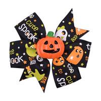 Bebé niñas Halloween horquilla grosgrain arcos pasadores niños murciélago cinta de calabaza pinzas para el cabello sombreros fiesta diy accesorios para el cabello regalos c82001