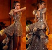 Preciosas de plata de lentejuelas vestidos de baile 2020 sobrefaldas vestido del desfile con la pluma Prom Vestidos noche de la celebridad del desgaste del vestido vestido de festa