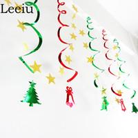 Leeiu Sospensione a sospensione a forma di ciondolo con decorazioni natalizie a forma di stelle colorate Striscioni con stelle di carta Forniture per feste di nozze