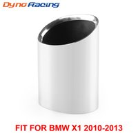 جودة عالية 1PC 304 الفولاذ المقاوم للصدأ العادم كاتم الصوت تلميح الكروم العادم الذيل الحلق أنابيب لسيارات BMW 10-13 X1 SDRIVE 18I E84