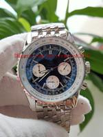 2 colores que venden relojes para hombre Reloj de la mejor calidad 45 mm Navitimer AB031021 / BF77 / 453A Cronógrafo Trabajo de acero inoxidable de cuarzo plegable