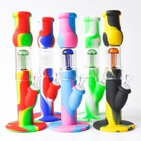 12. 5inches Silicone Bong Water Pipe 6 Arms Dab Rig with glas...