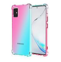 Gradient double Couleur transparent TPU anti-choc pour Samsung A10S A20S A10E A20E A50 A51 A70 S7 bord Google pixel4 XL One Plus