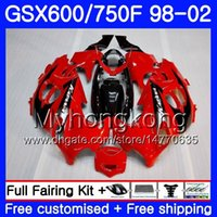 Kropp för Suzuki Katana GSXF 600 750 GSXF750 98 99 00 01 02 292HM.24 GSX 750F 600F GSXF600 1998 1999 2000 2001 2002 Fairing Factory Red Top