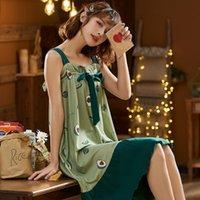 NIGHTWA fruta impresión camisones floja suave ropa de noche dulce camisa de dormir atractiva de gran tamaño del camisón de algodón cómodo Inicio Telas
