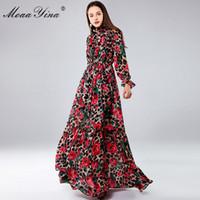 Moaayina Moda Tasarımcısı Maxi Elbiseler kadın Uzun Kollu Seksi Leopar Baskı Gül Çiçek Zarif Uzun Elbise Parti Tatil Elbise