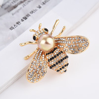De gama alta pasadores de diamantes de imitación collar de abeja broche de las mujeres grandes de perlas de agua dulce laides broche broche de accesorios de la boda sencilla marca perno al por mayor