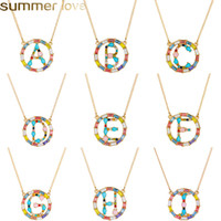 Fashion Initials Name Alphabet Necklace Crystal Rainbow Pend...