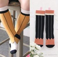 Детские носки Детские карандашные носки детские девушки хлопчатобумажные коленные носки весенние осень сладкие дети полоса носка мальчики чулки a00433