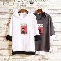 moda de Nova mens designer de camisetas novidade moletom Animal Print gato Applique Acetato estilo longo venda quente muitas cores de melhor qualidade